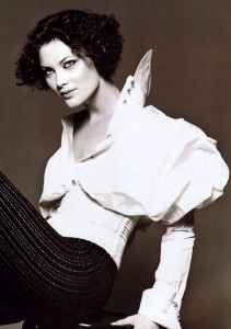 1994 - Shalom Harlow in Gianfranco Ferre white shirt.